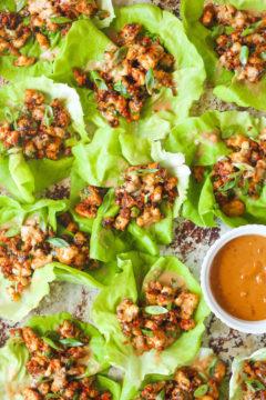 Peanut Chicken Lettuce Wraps