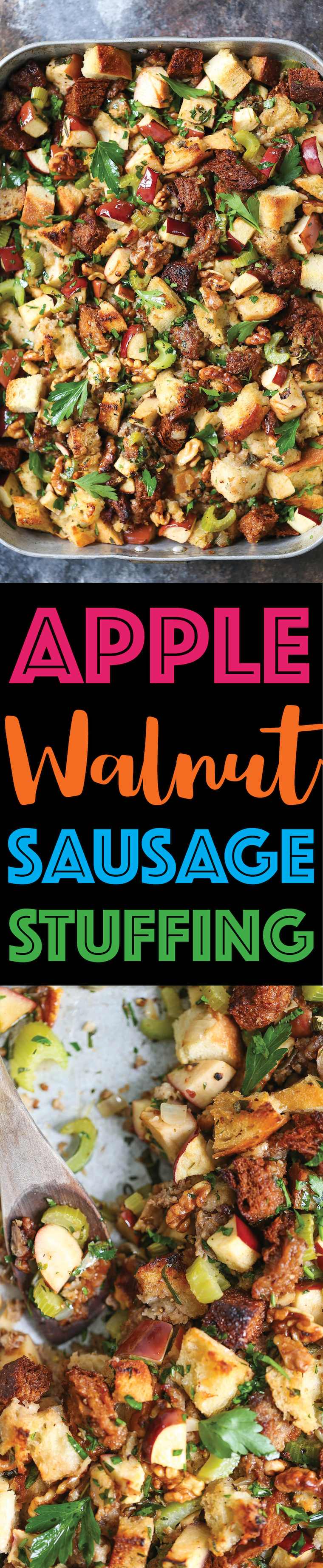 Apple Walnut Sausage Stuffing -Make your stuffing ahead of time! It's easy, quick, and flavorful with crumbled sausage, fresh herbs, and apples! SO GOOD!!!