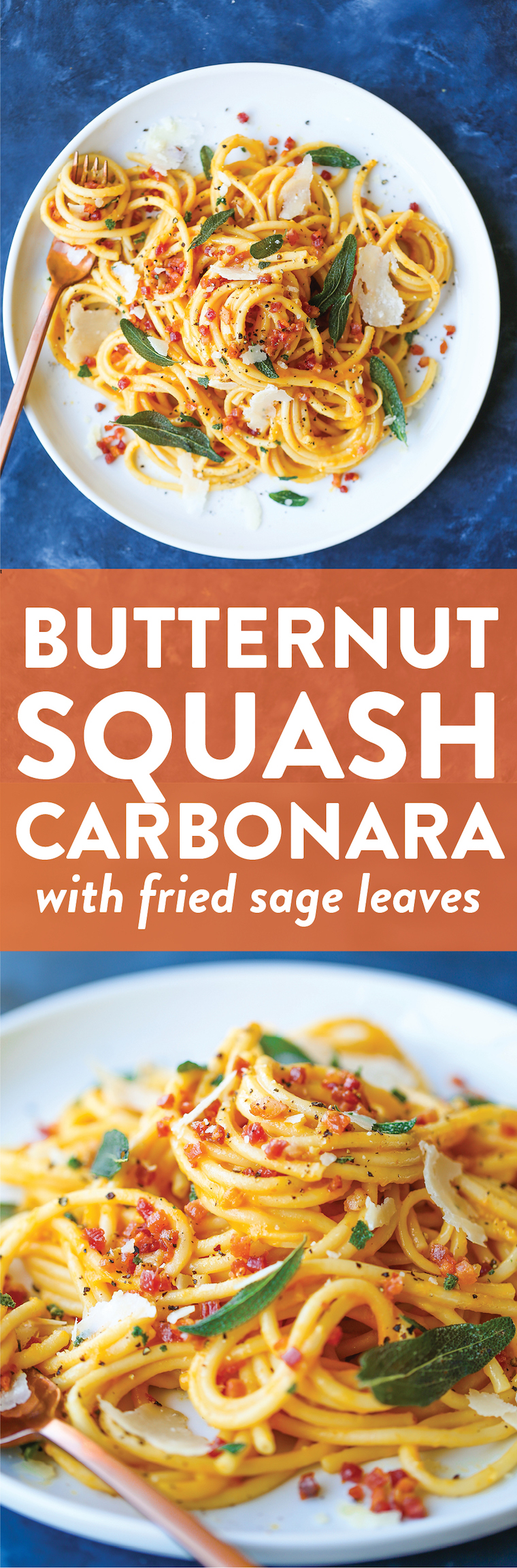 Butternut Squash Carbonara - If you love carbonara, you will love this! It is amazingly creamy and loaded with crispy pancetta and fried sage leaves!