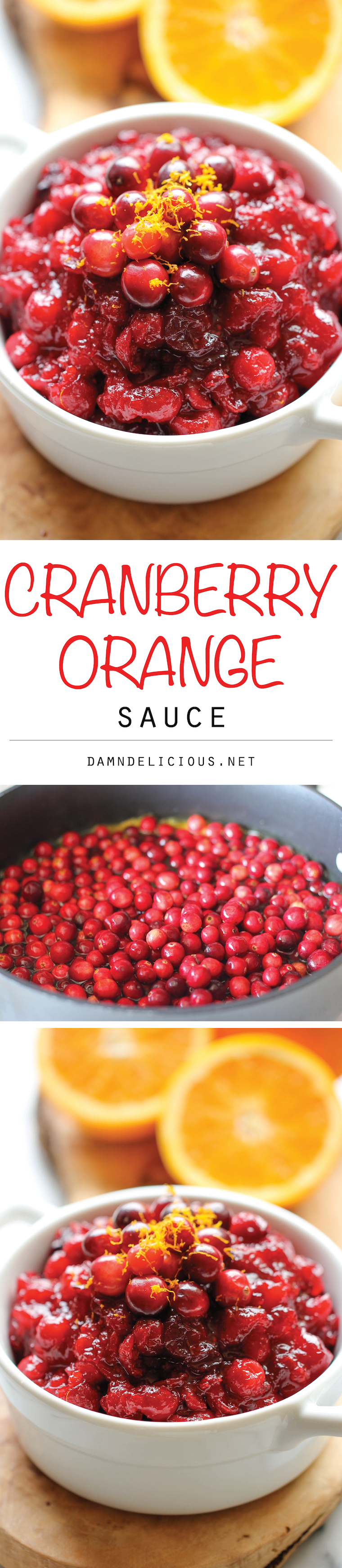 Cranberry Orange Sauce -Skip the canned cranberry sauce this Thanksgiving and make it right at home – it is embarrassingly easy to make with just 3 ingredients! You can even make it ahead of time!