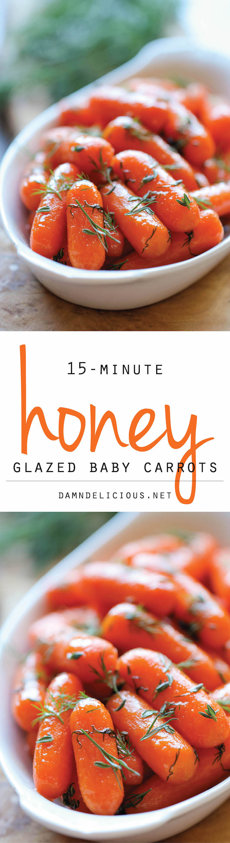 Honey Glazed Baby Carrots - Honey brings in such a pleasant sweetness to these baby carrots in this easy 15-minute side dish – a perfect addition to your Thanksgiving spread!