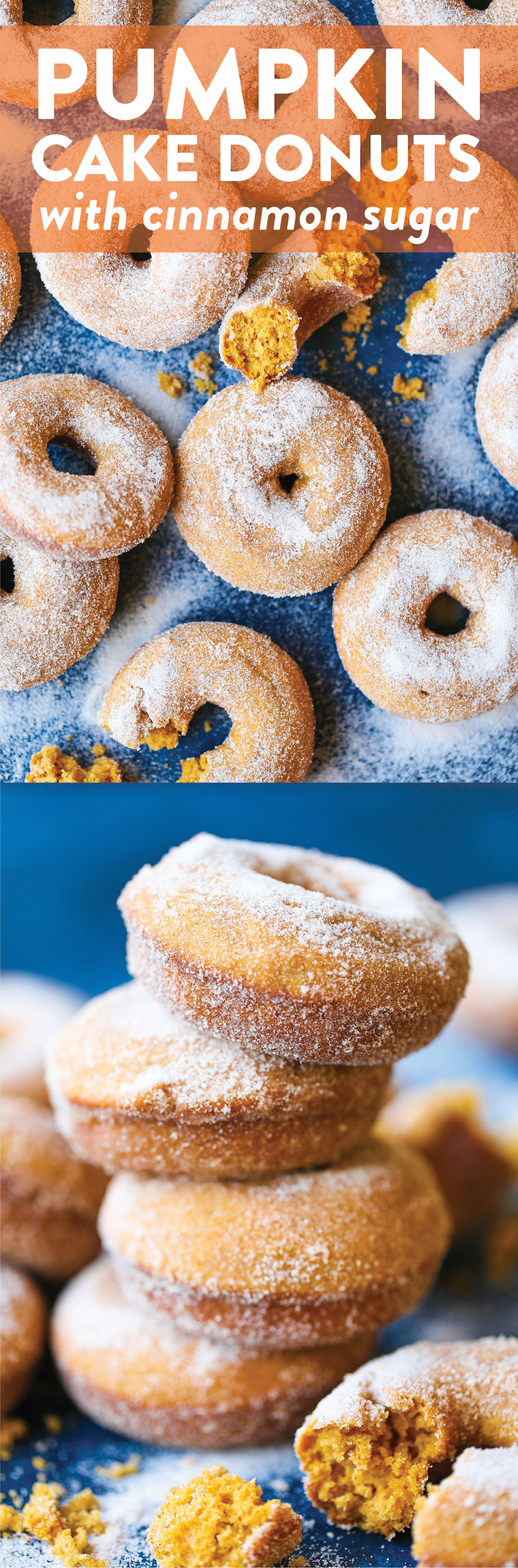 Pumpkin Cake Donuts - The MOST HEAVENLY pumpkin donuts! So moist, they just melt-in-your mouth! Coated in melted butter and cinnamon sugar. It's perfection!