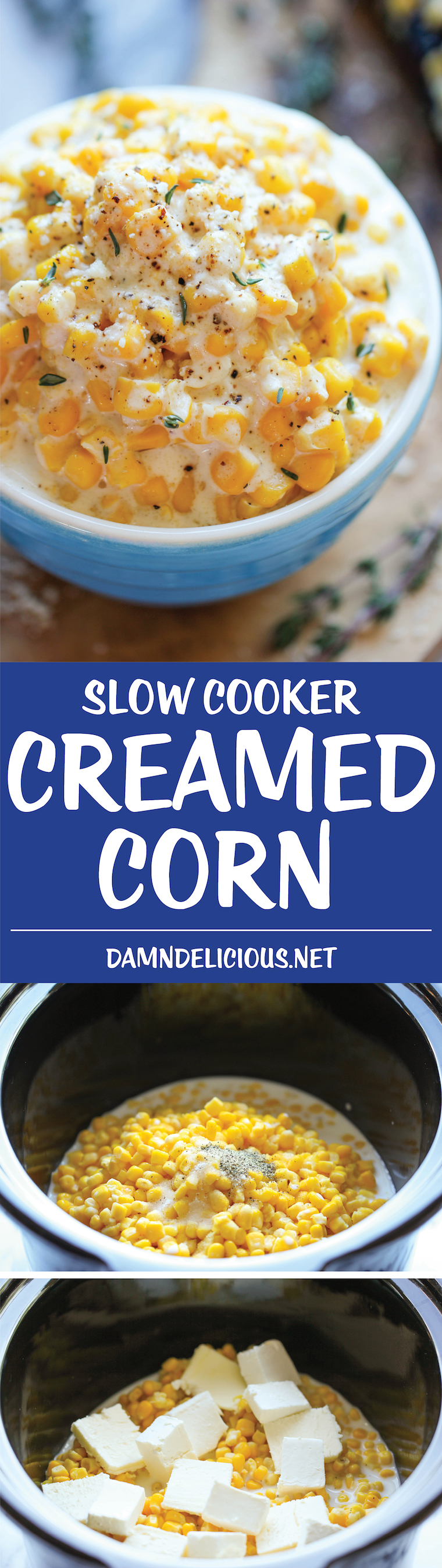 Slow Cooker Creamed Corn -Skipped the canned cream corn this year and make it from scratch right in the crockpot – it's so rich and creamy and unbelievably easy to make with just 5 ingredients!