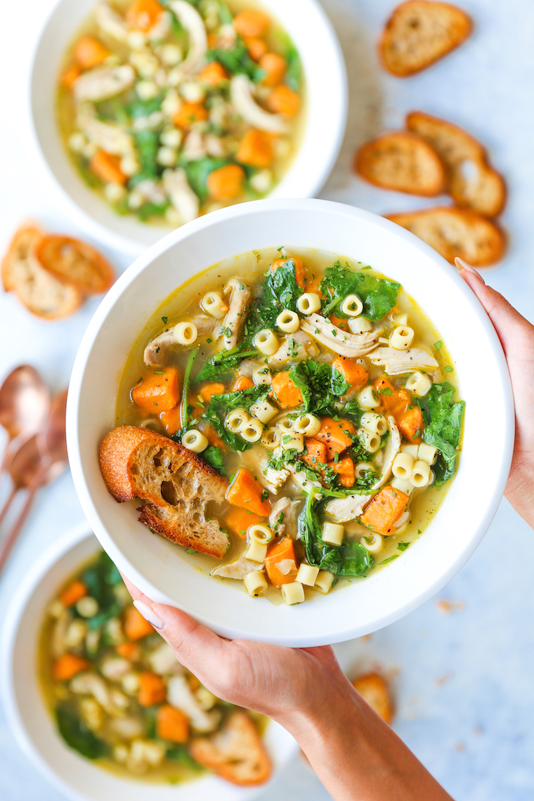 ​Sweet Potato Chicken Noodle Soup - A classic chicken noodle soup with a Fall twist! With tender chunks of sweet potato, this is pure comfort in a bowl!