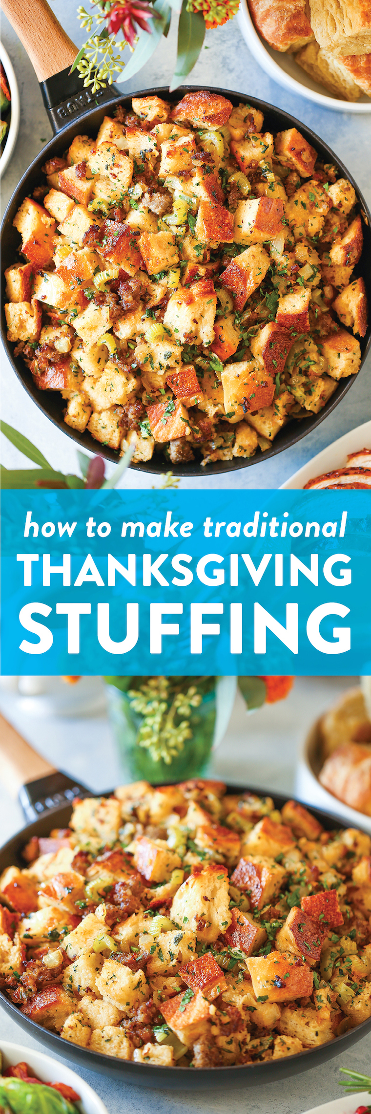 Classic Thanksgiving Stuffing - This will be the only stuffing recipe you will ever need! So much fresh herbs and so buttery. It's simply the best EVER!