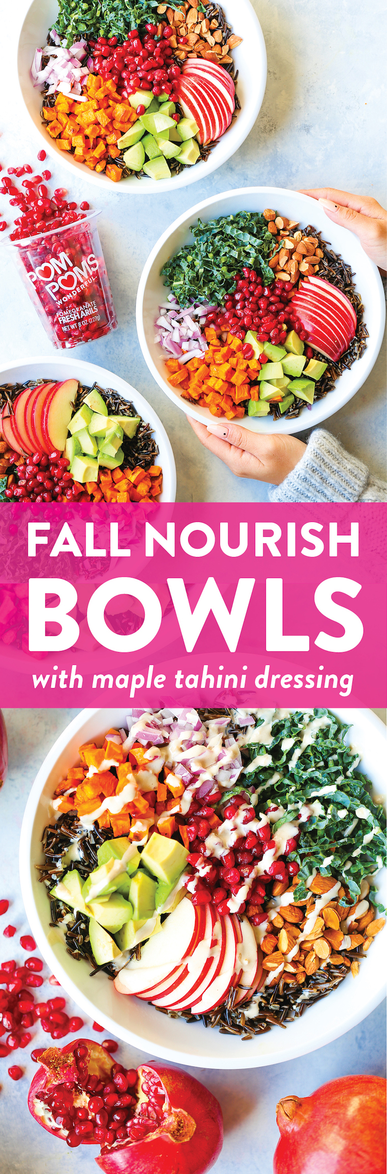 Fall Nourish Bowls - Filled with so many different veggies, these bowls are well-balanced, hearty and HEALTHY! Made with a maple-tahini dressing. SO GOOD!!!