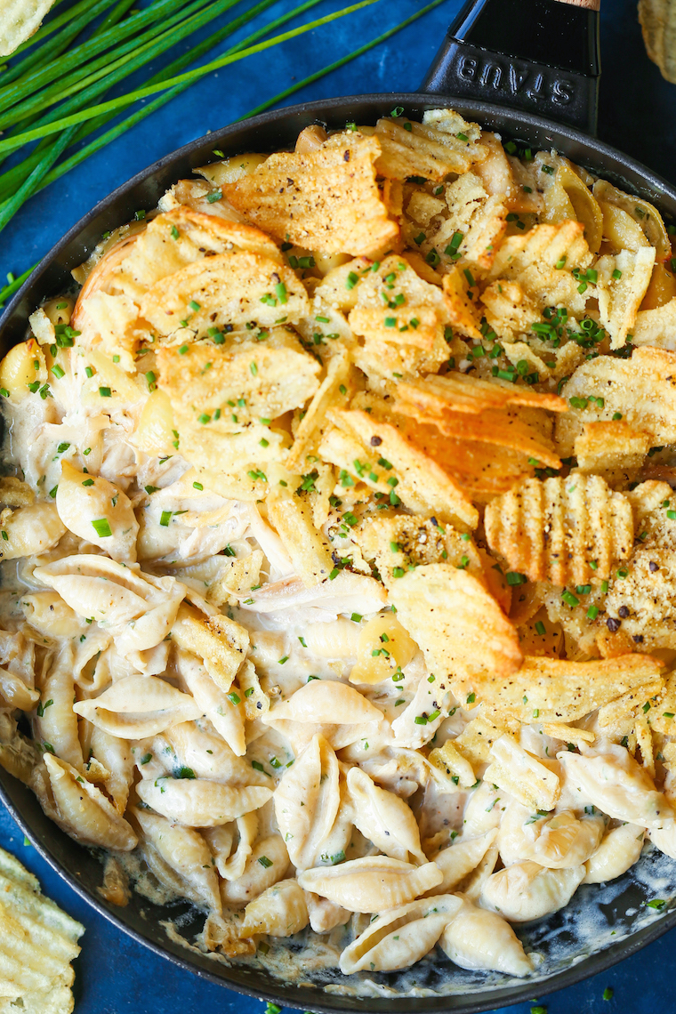 French Onion Chicken Noodle Casserole - The coziest, most comforting casserole! With caramelized onions, rotisserie chicken, pasta and the best cream sauce!