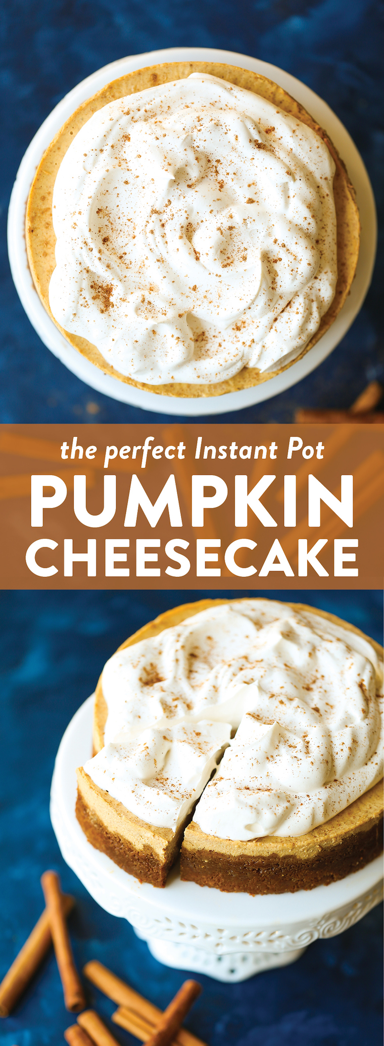 Instant Pot Pumpkin Cheesecake - So amazingly smooth and creamy with the most irresistible gingersnap cookie crust! And you don't even need oven space! WIN!