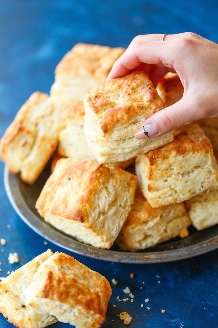 Parmesan Black Pepper Biscuits - Super flaky, mile-high biscuits! The Parmesan and black pepper make these SO GOOD! Serve warm for the best biscuits ever!