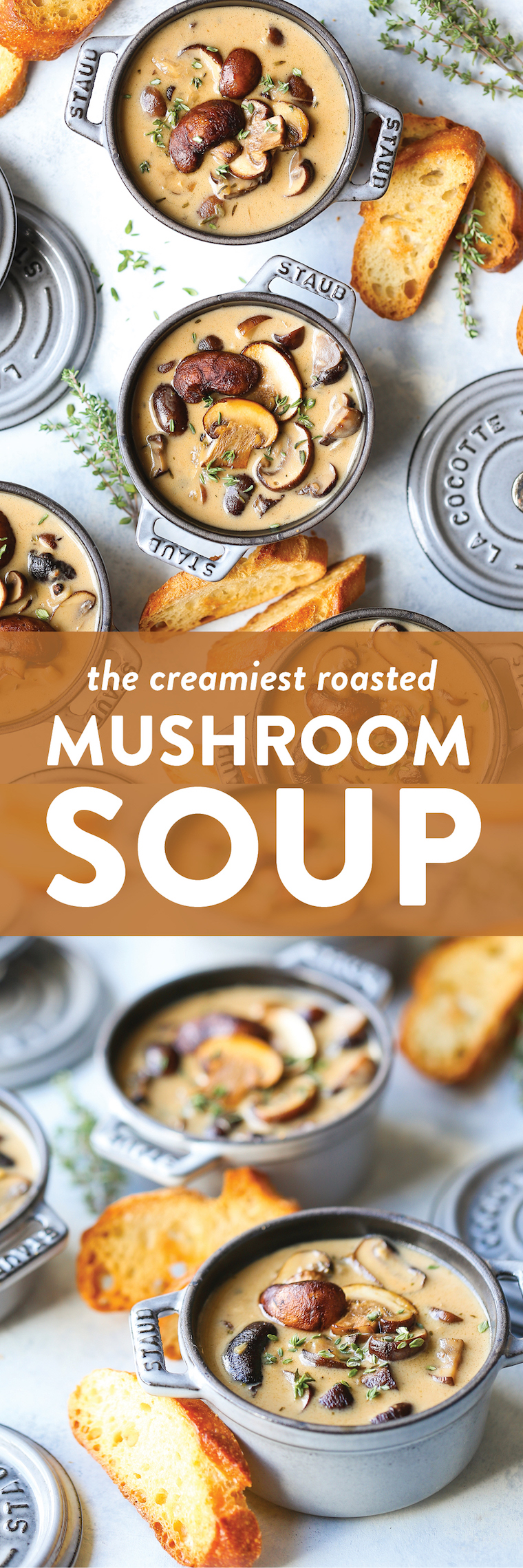 Creamy Roasted Mushroom Soup - So creamy, so rich, so hearty and so comforting! The secret to this soup is roasting the mushrooms in garlic and fresh thyme!