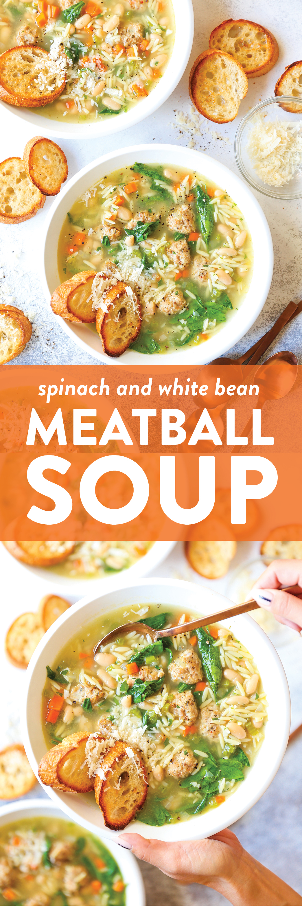 Spinach and White Bean Meatball Soup - My favorite cozy weeknight soup! Made so hearty with white beans, spinach, and the most tender chicken meatballs!
