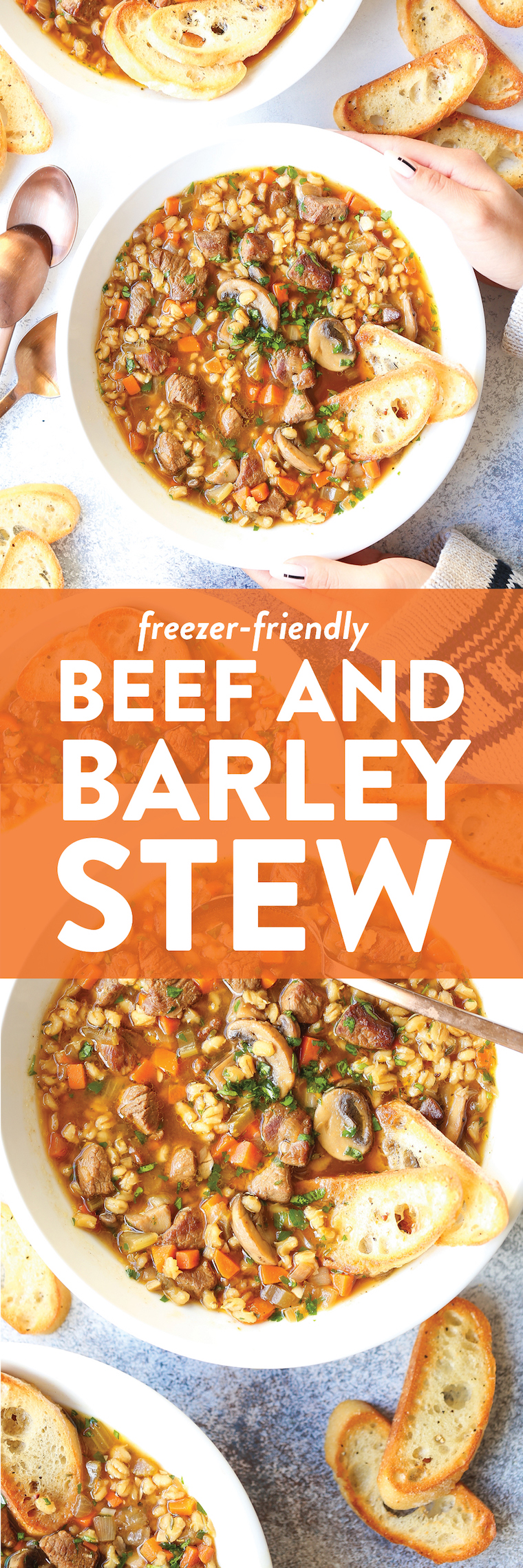 Beef and Barley Stew - Melting-tender beef chunks, perfectly cooked barley, and all the hearty veggies one can ask for. Best of all, it's freezer-friendly!