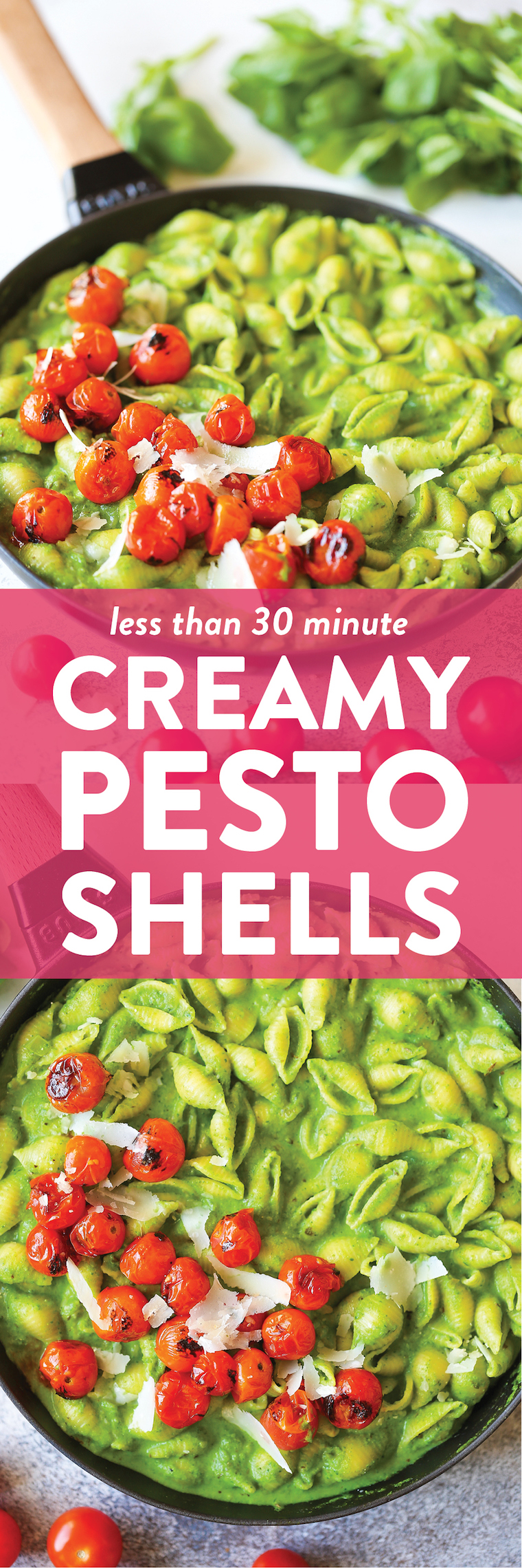 Creamy Pesto Shells - The most epic pesto cream sauce ever! It's fresh, vibrant, and amazingly creamy. Served with pasta for a quick family favorite meal!