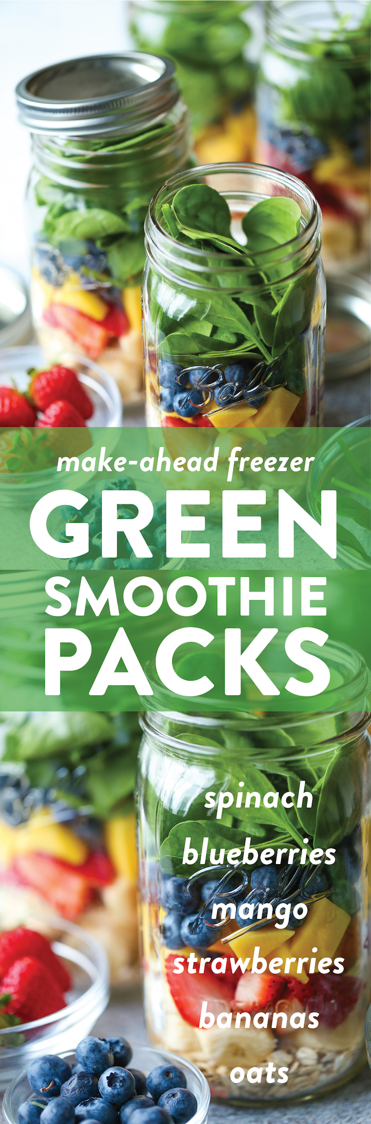Freezer Green Smoothie Packs - Make-ahead freezer-packs! Now you have ready-made smoothies for the entire week. Simply add your milk and blend! That's it!