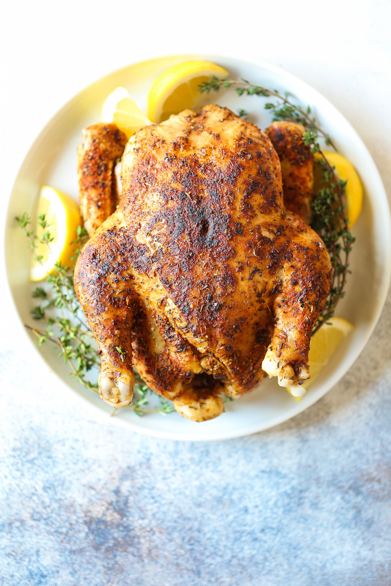 Instant Pot Rotisserie Chicken - 28 min whole rotisserie chicken? Yes! The chicken comes out perfectly tender, juicy + packed with flavor. And it's SO EASY!