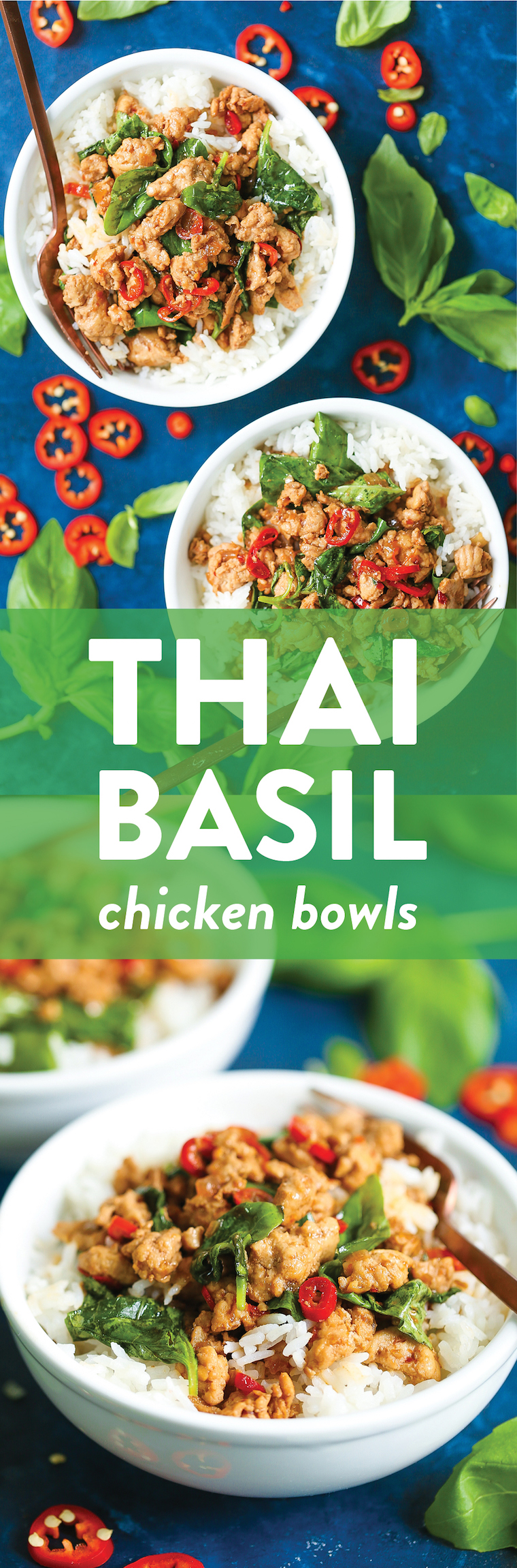 Thai Basil Chicken Bowls - A 30-minute meal with less than 400 calories per serving? YES AND YES!!! It's so quick to whip up, budget-friendly, and SO GOOD!