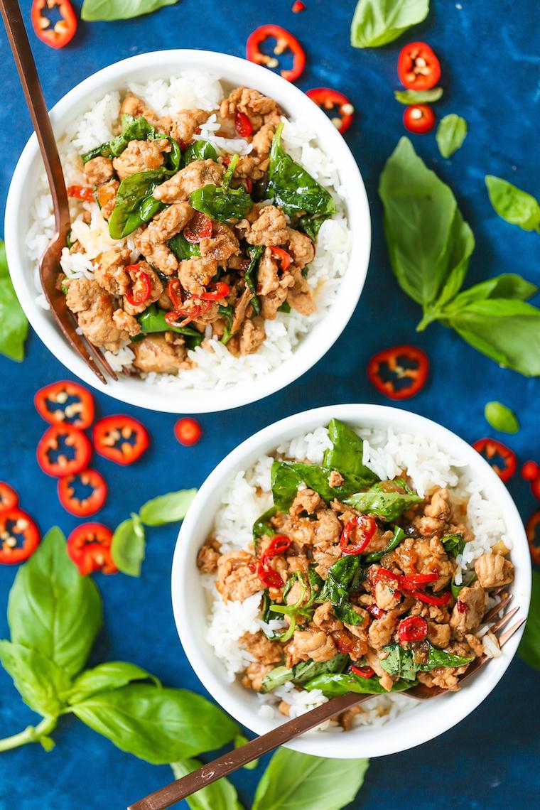 Thai Basil Chicken Bowls Damn Delicious