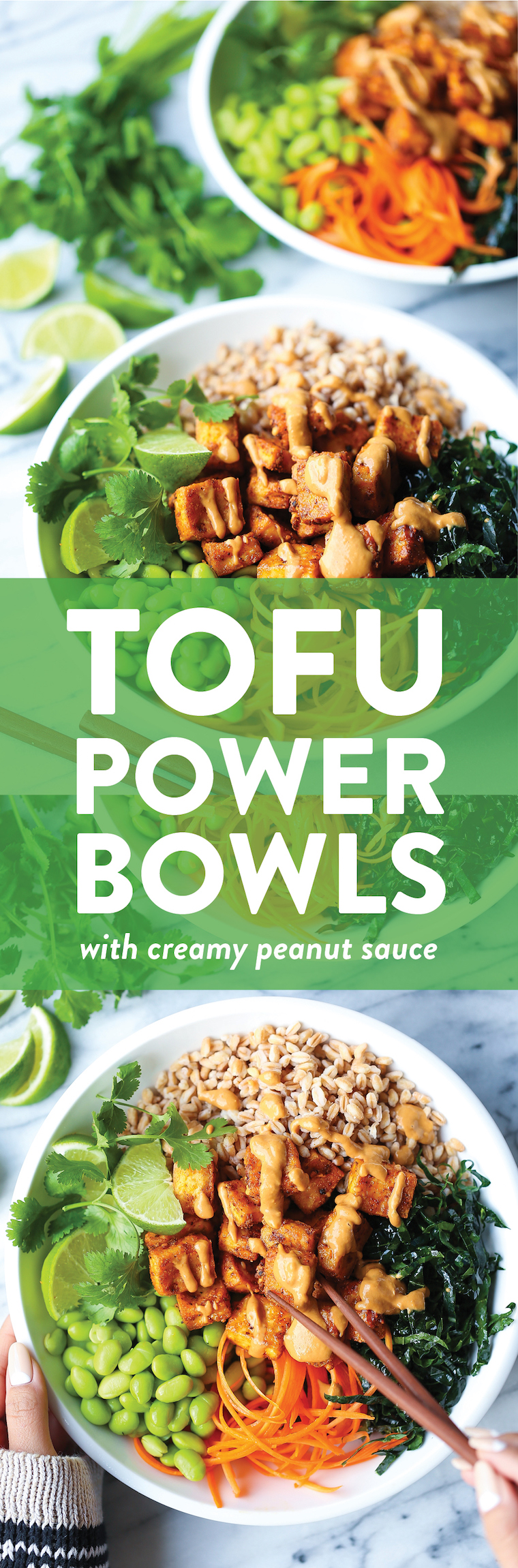 Tofu Power Bowls - Nutritious, flavor-packed veggie power bowls with crispy baked tofu, kale, edamame, carrots + THE BEST creamy peanut sauce of your life!