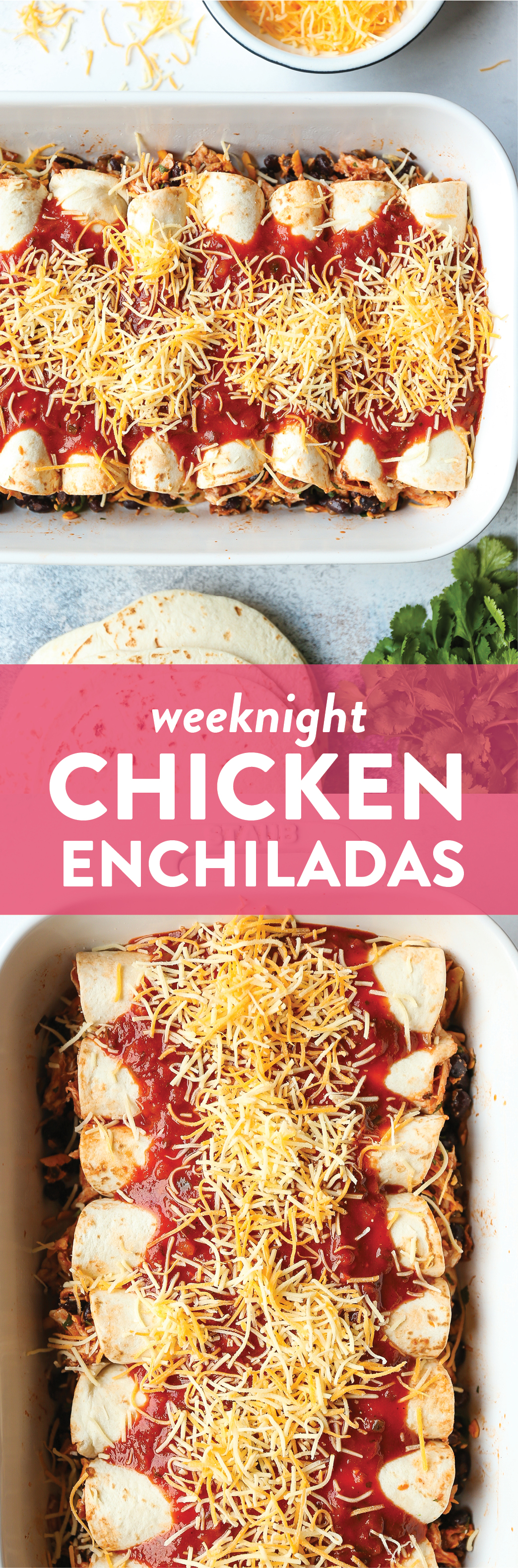 Weeknight Chicken Enchiladas - Classic chicken and black bean enchiladas for those busy weeknights! Easy to assemble with a quick homemade enchilada sauce!