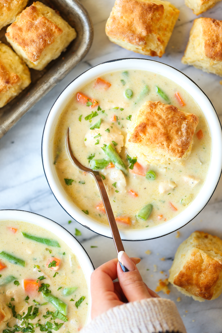 Chicken Pot Pie Soup - Everyone's favorite pot pie in soup form! Simple to make and so so cozy and comforting! Serve with warm biscuits for a complete meal!