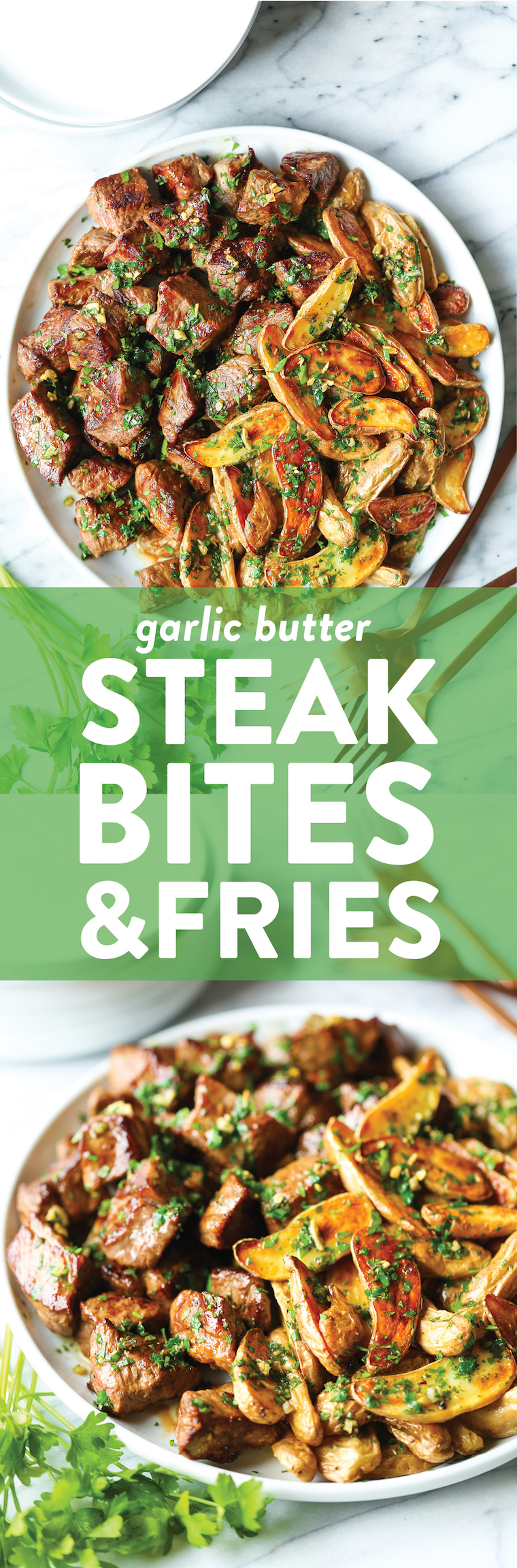 Garlic Butter Steak Bites and Fries