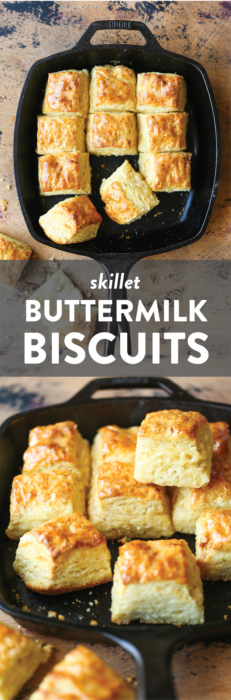 Skillet Buttermilk Biscuits - The most flaky, mile-high, buttery biscuits ever! Requires only 6 ingredients and baked in a skillet in under 45 minutes!