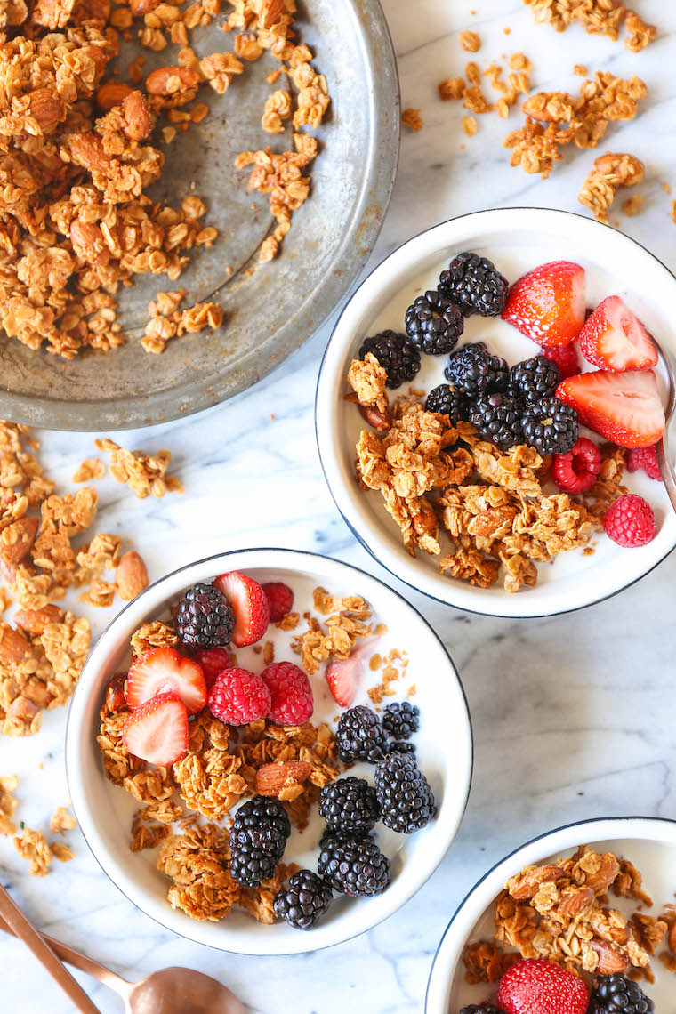 Almond Butter Granola - There is nothing better than homemade granola! It's quick/easy to make, it's cheaper and it's so much tastier! You can't beat that!