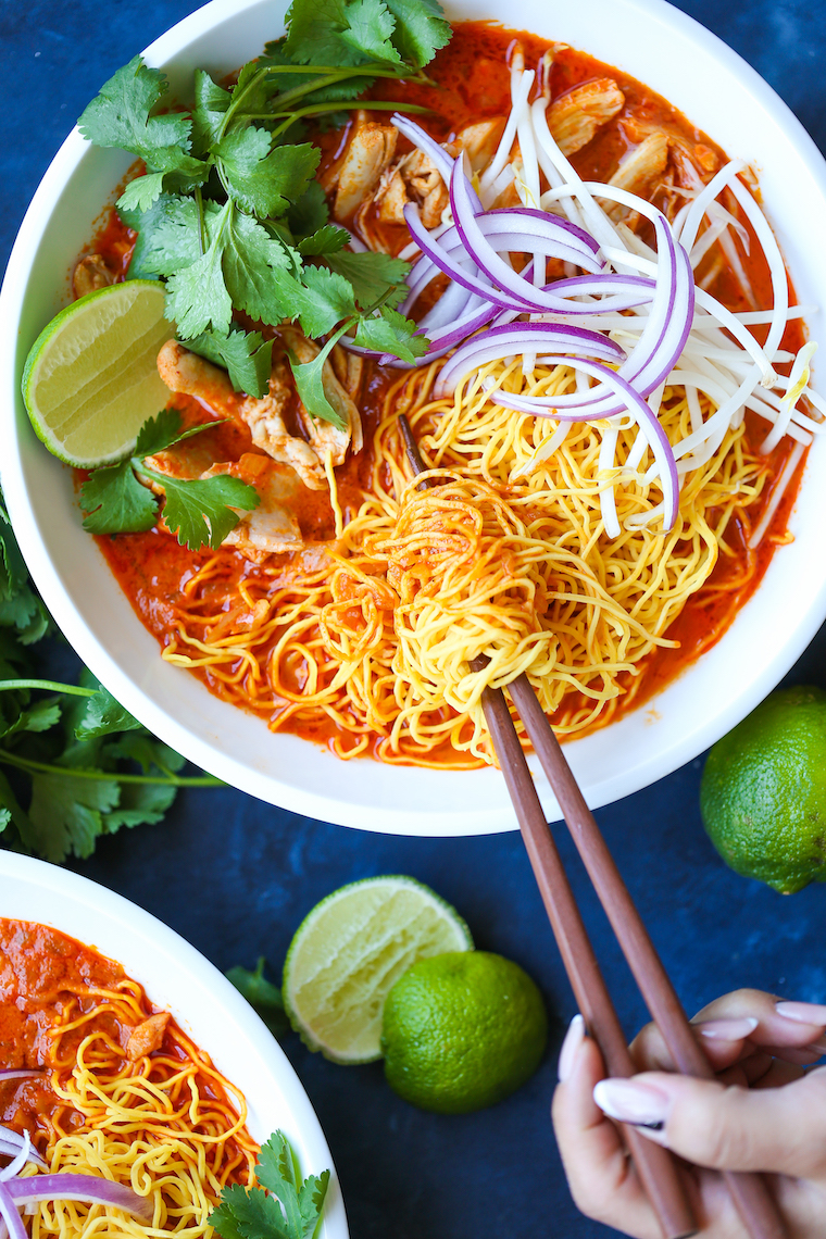 Chicken Khao Soi (Thai Coconut Curry Noodle Soup) - Made with such tender shredded chicken in an amazingly fragrant coconut-curry broth that is to die for!