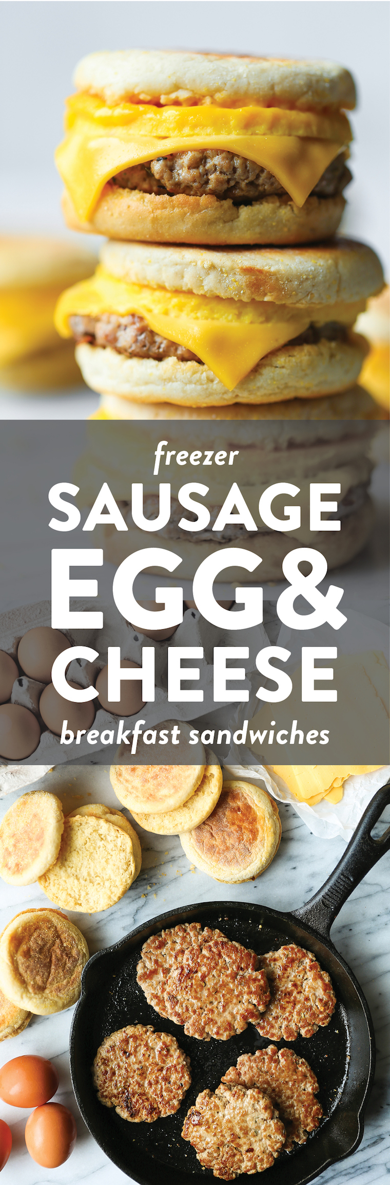 Freezer Sausage, Egg, and Cheese Breakfast Sandwiches - Best ever freezer-friendly breakfast sandwiches for those busy mornings! Never skip breakfast again!