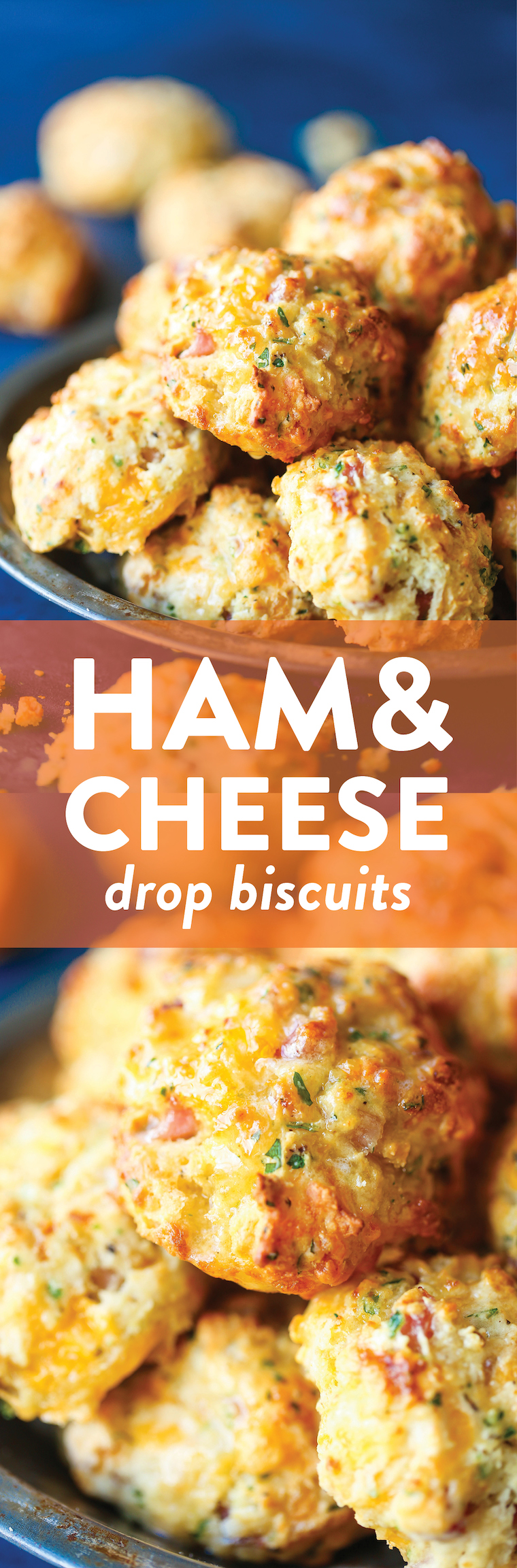 Ham and Cheese Drop Biscuits - The easiest, simplest homemade drop biscuits made with less than 20min prep! And they're so buttery, so flaky and so perfect!