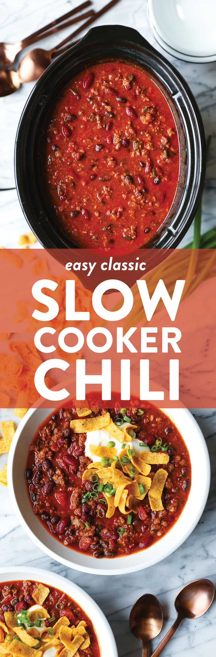 Easy Slow Cooker Chili - Come home to the best homemade chili! It's an amazingly