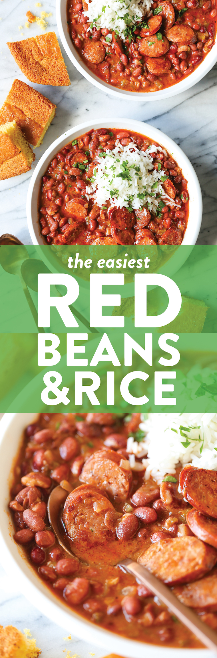 Red Beans and Rice - So thick, so creamy and so flavorful! The beans are cooked just right - perfectly tender, served with rice and smoky andouille sausage.