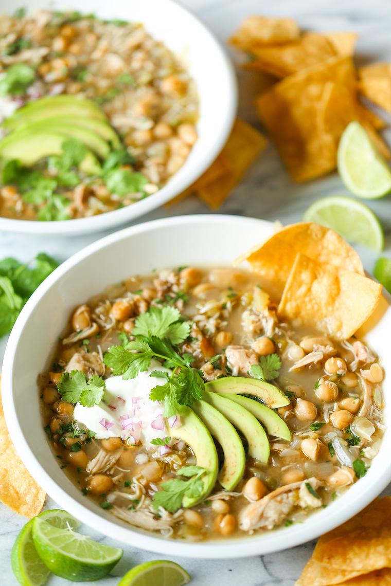 Slow Cooker White Chicken Chili - The easiest crockpot recipe of your life! It's a one pot wonder - no searing, no fuss. Simply throw everything right in!