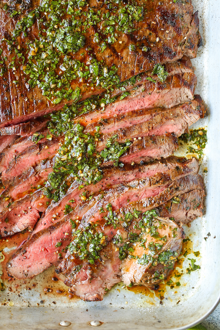 Carne Asada - Cilantro, olive oil, soy sauce, orange + lime juice, garlic, jalapeno and cumin make for the easiest and most flavorful marinade. SO SO GOOD.