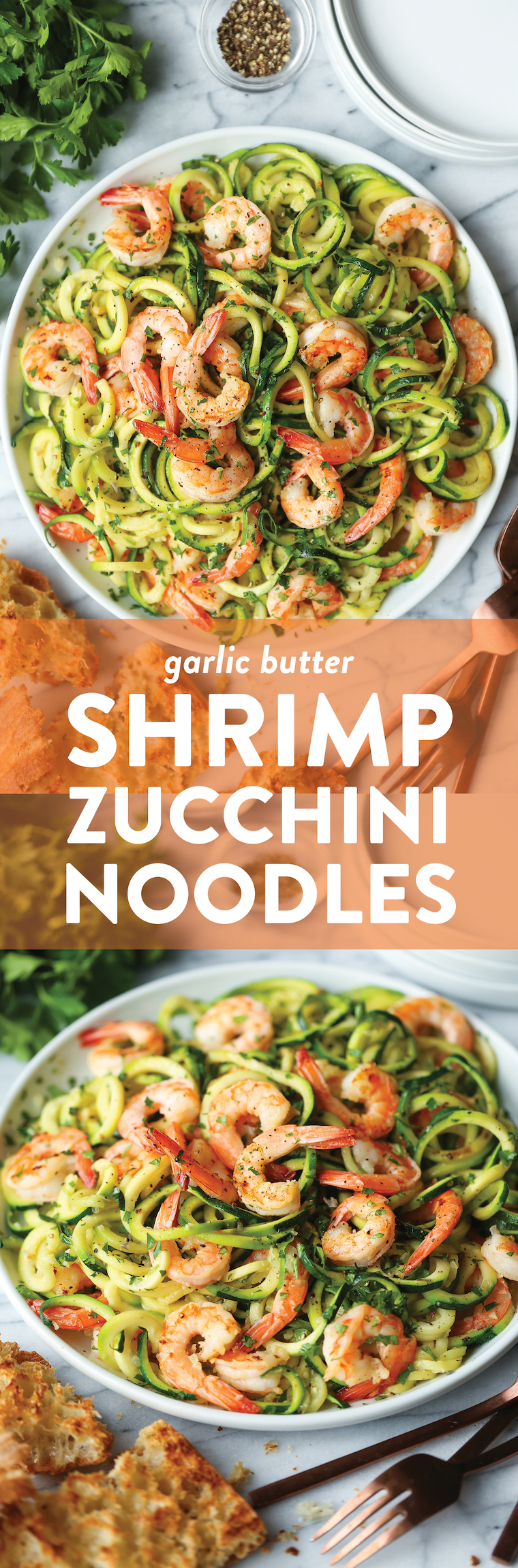 Garlic Butter Shrimp Zucchini Noodles