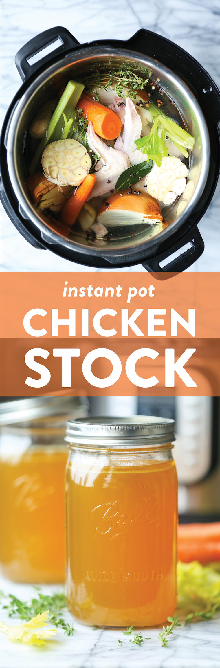 Instant Pot Chicken Stock - Now you can make the best homemade chicken stock in just 45 min! Freeze for up to 3 months. Perfect for stews, soups and sauces!