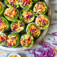 Vegetable Spring Rolls with Peanut Sauce