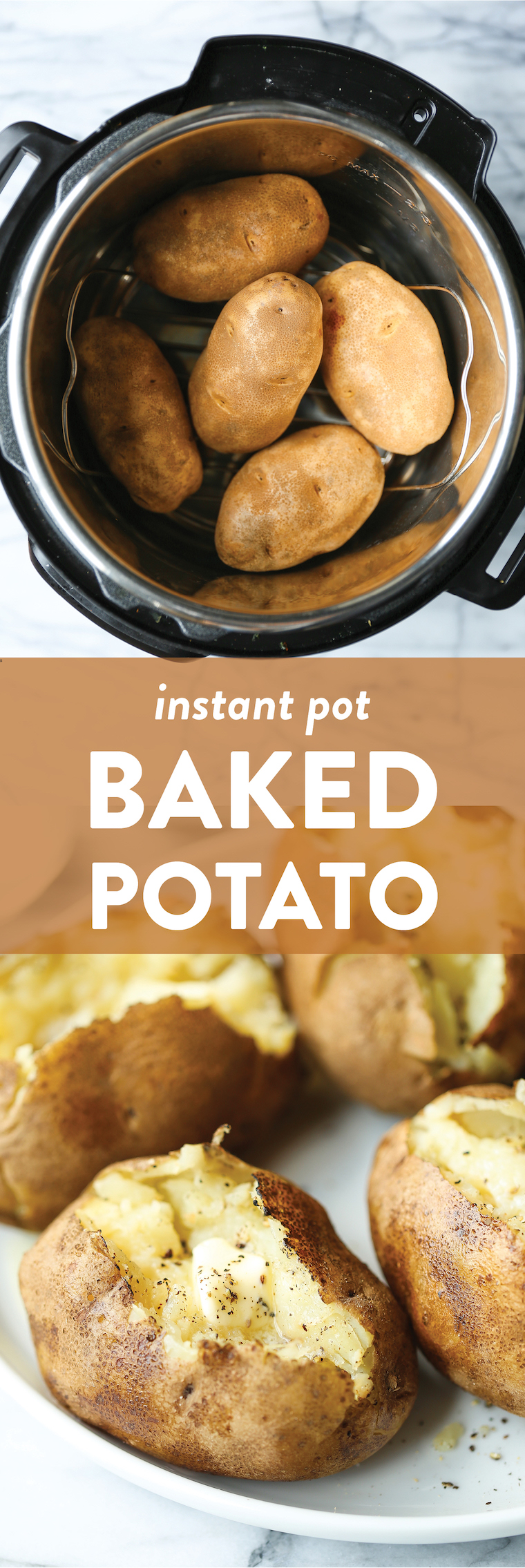 Instant Pot Baked Potato - The most foolproof way to make baked potatoes! Fluffy, fork-tender insides with super golden, crisp skin in just half the time!