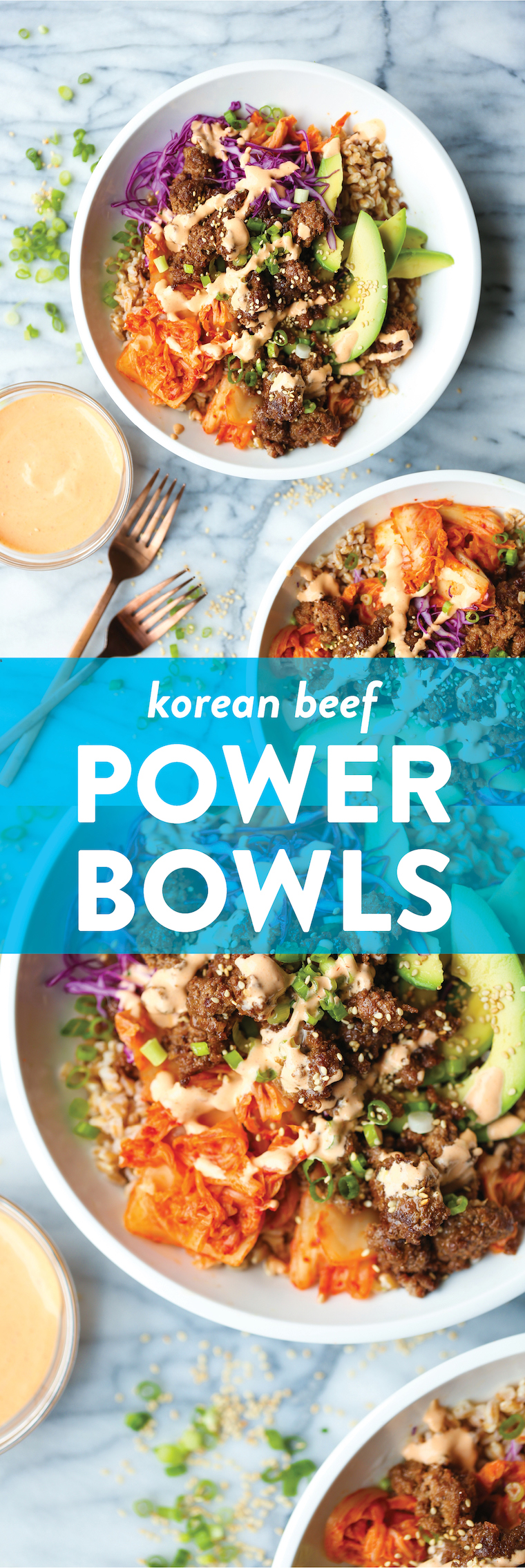 Korean Beef Power Bowls - With the easiest Korean beef, shredded cabbage, caramelized kimchi, avocado slices, and the best ever Sriracha mayo. SO SO BOMB.