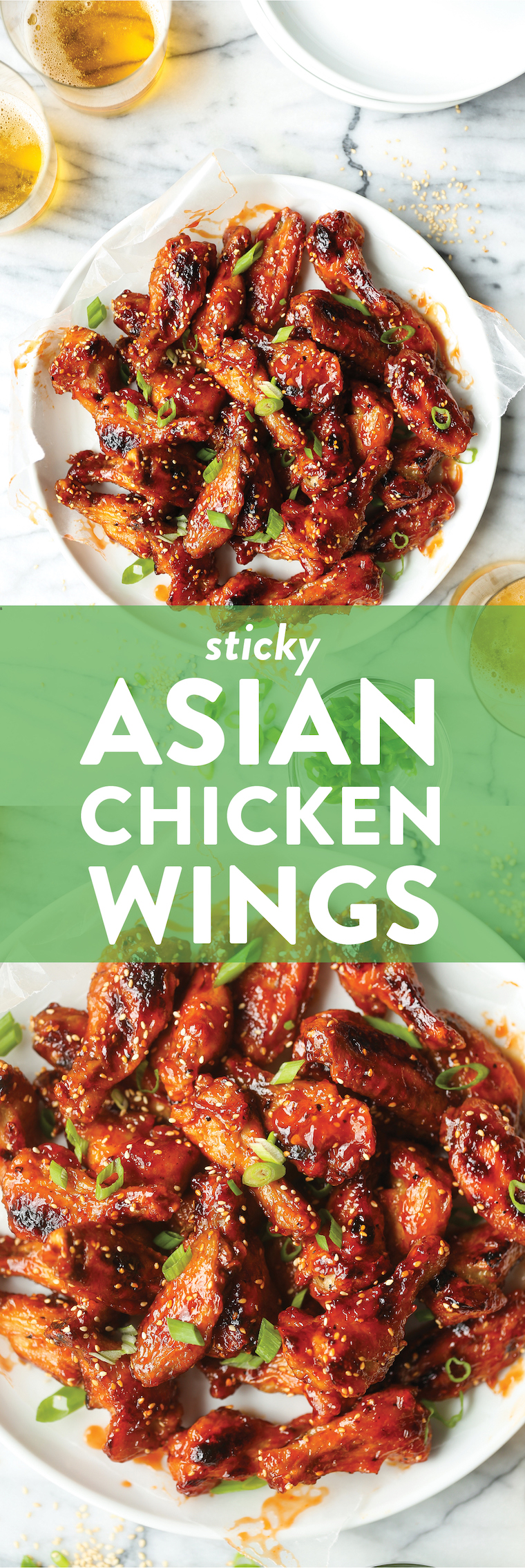 Sticky Asian Chicken Wings - Crispy, sticky, sweet, savory with the most perfect caramelized glaze. Basically best party food ever. SO FINGER-LICKING GOOD.