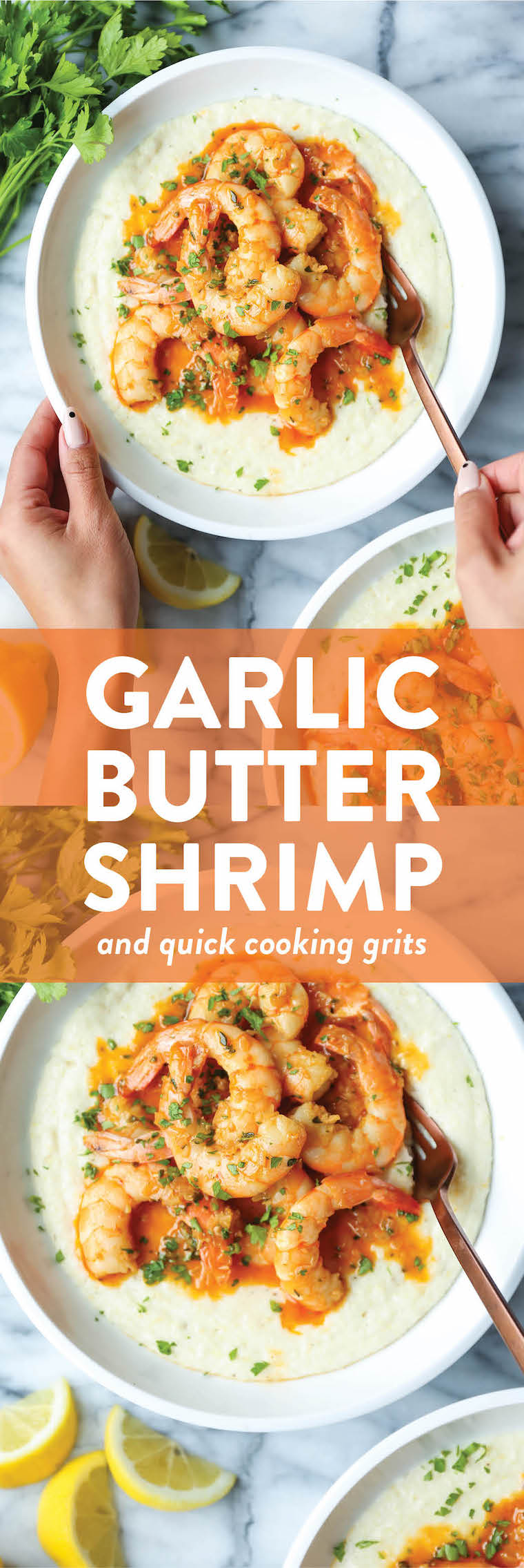 Garlic Butter Shrimp and Grits - Speedy comfort food at its best! Perfectly garlicky, buttery shrimp cooked so so quickly, served with the creamiest grits!