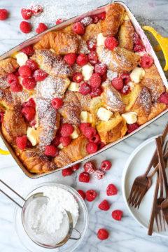 Raspberry Croissant French Toast Bake