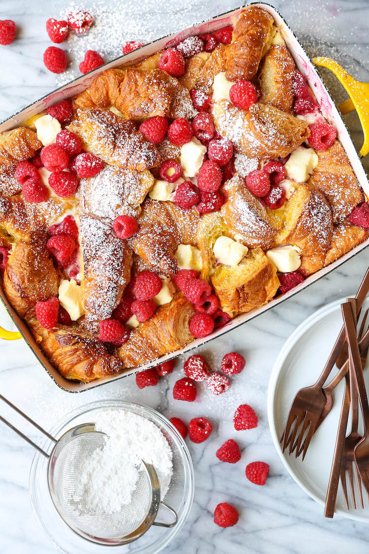 Raspberry Croissant French Toast Bake - Easiest overnight French toast casserole! Prep the night before and bake in the morning. Too easy and so impressive!