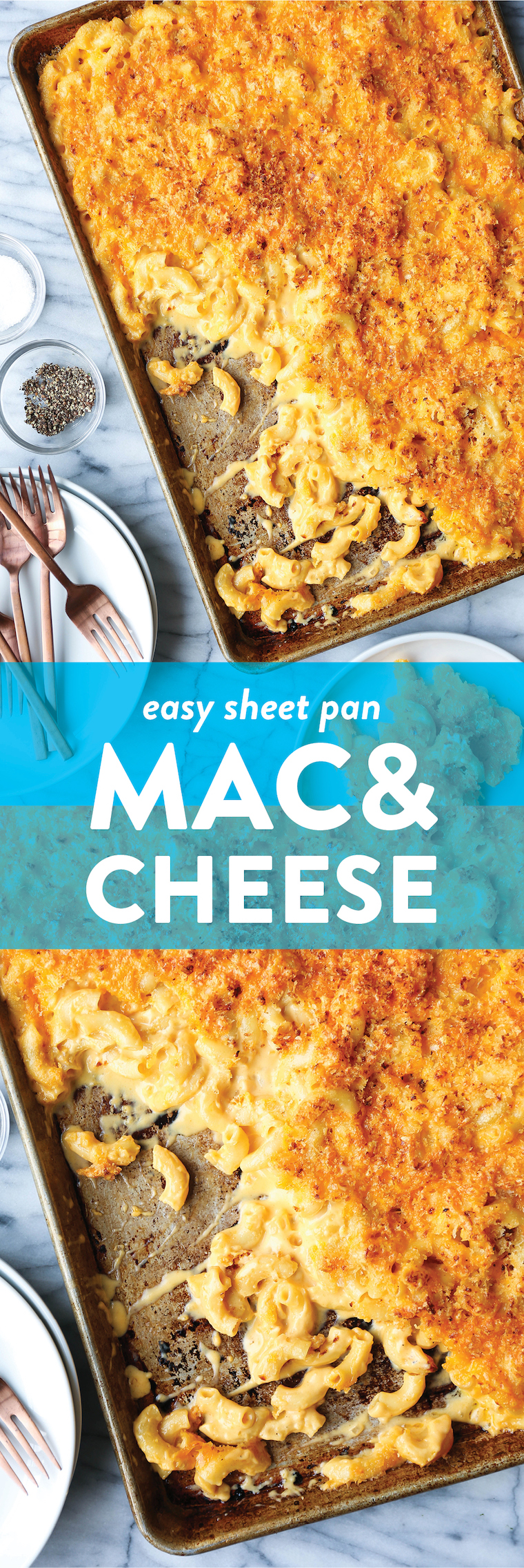 Sheet Pan Mac and Cheese - Crowd-pleasing mac and cheese made on a sheet pan! Perfectly cheesy + creamy with the maximum amount of crunchy bits. MIND BLOWN.