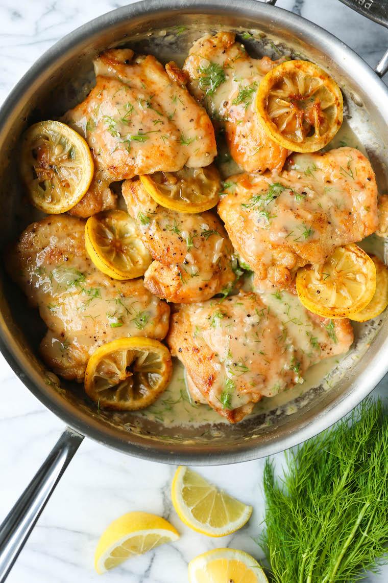 Skillet Lemon Dill Chicken Thighs Recipe Damn Delicious