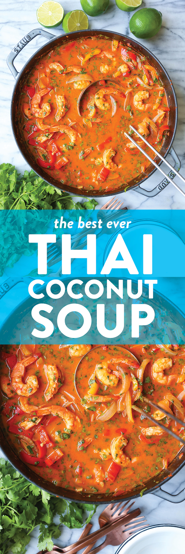 Thai Coconut Curry Soup - Skip the takeout! This will be your go-to Thai curry soup! Serve with fresh Thai basil, cilantro and lime juice. So cozy, so good.
