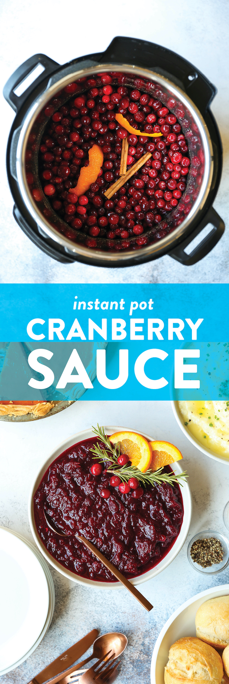 Instant Pot Cranberry Sauce - Perfect homemade 4 min cranberry sauce made from scratch! Use frozen or fresh cranberries. Quick, simple, easy, and so good.