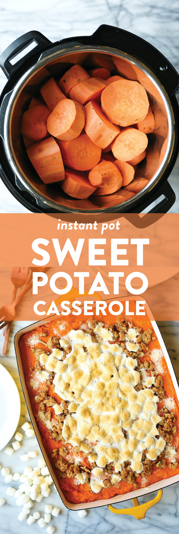Instant Pot Sweet Potato Casserole - You can easily make this ahead of time; bake when ready to serve with toasted marshmallows + a pecan streusel topping!