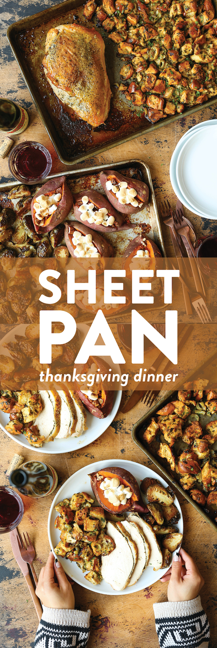 Sheet Pan Thanksgiving Dinner - Turkey, stuffing, brussels sprouts + sweet potatoes in less than 2 hrs on just TWO SHEET PANS! So quick with easy clean up!