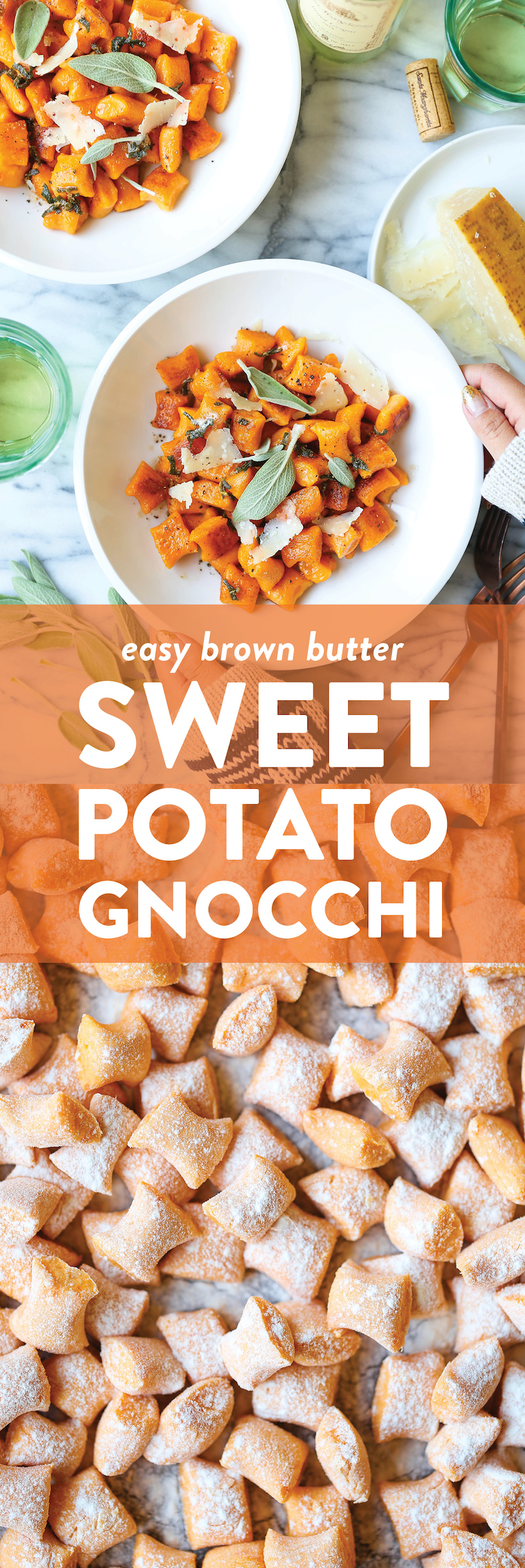 Brown Butter Sweet Potato Gnocchi - Homemade gnocchi is easier to make than you think! So light and so pillowy using just 4 ingredients! SO SO GOOD.